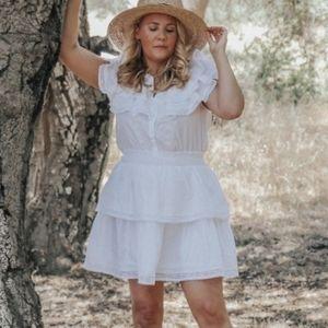 LOVESHACKFANCY Penelope Double Ruffle White Dress